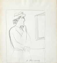 Alexandre FASSIANOS - Dibujo Acuarela - L'homme au chapeau