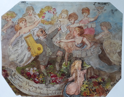 Franz Graf VON POCCI - Dessin-Aquarelle - Apollon Musagetes