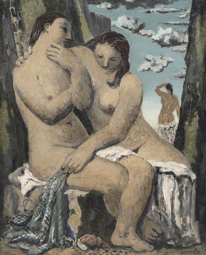 Jean SOUVERBIE - Pittura - Les baigneuses
