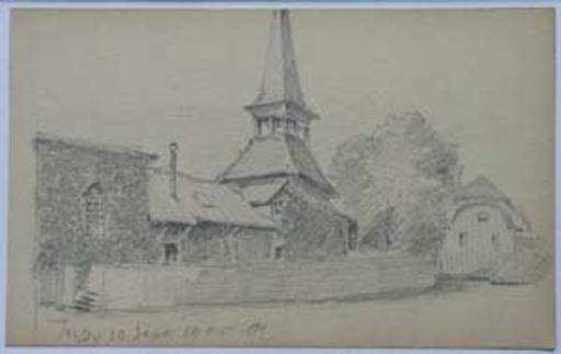 Charles MELTZER - Dibujo Acuarela - Jussy 10 Sept 1900