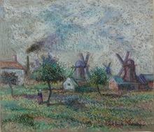 Paul Émile PISSARRO - Dibujo Acuarela - Les Moulin