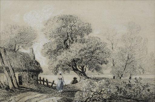 Hermann CORRODI - Dibujo Acuarela - « Landscape with characters »
