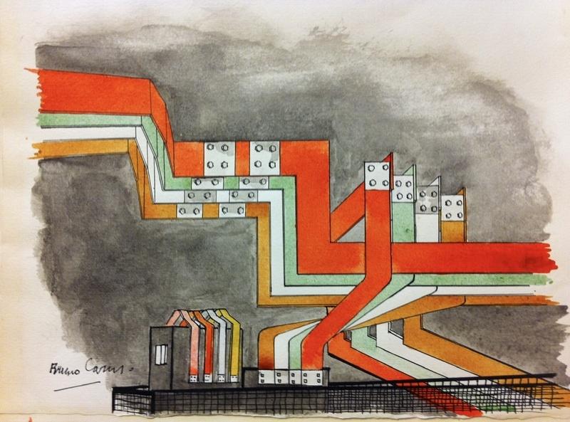 Bruno CARUSO - Drawing-Watercolor - Sbarre di distribuzione nella cabina elettrica