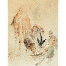 Reuven RUBIN - Dessin-Aquarelle - Camel and Donkey feeded