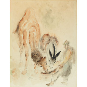 Reuven RUBIN - Drawing-Watercolor - Camel and Donkey feeded
