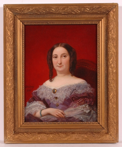 "Louis DEVEDEUX - Pintura - ""Portrait of a Lady"", 1861, Oil Painting"