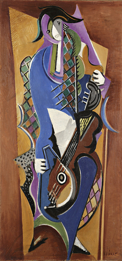 Serge FÉRAT - Painting - Arlequin à la guitare