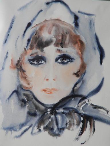Marina GREKOFF - Drawing-Watercolor - PORTRAIT - FEMME - ЖЕНЩИНА