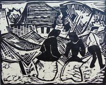 施密特-罗特卢夫 - 版画 - By the Nets | Bei den Netzen