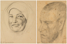 Vasily Yakovlevich SITNIKOV - Drawing-Watercolor - A Pair of Portraits: Man and Woman