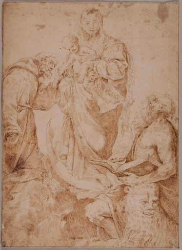 Flaminio TORRI - Dibujo Acuarela - The Virgin and Child with Saints Jerome and Francis