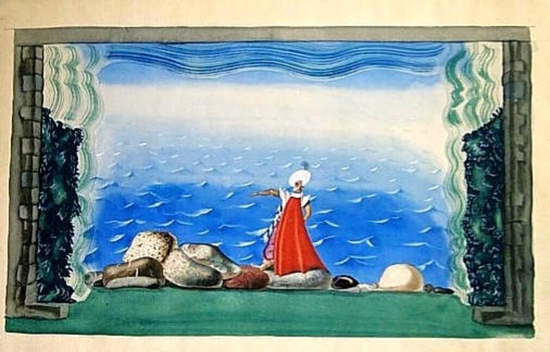 Youri Pavlovitch ANNENKOFF - Disegno Acquarello - A BUCCANEER ON SEA SHORE