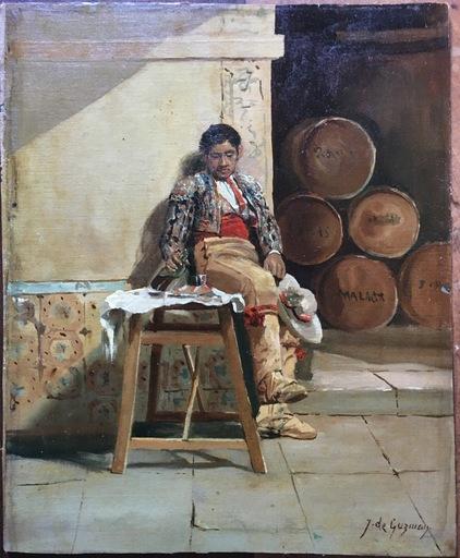 Juan Bautista GUZMAN - Pintura - Tomando una copa.