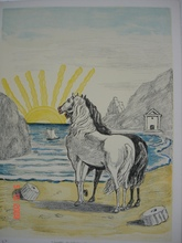 Giorgio DE CHIRICO - Grabado - Cavalli mediterranei