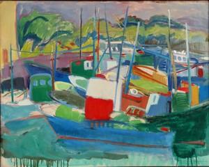 """Gisèle FERRANDIER - Painting - """"LE PORT/PAYSAGE"""""""