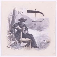 "Fritz WINTER - Dibujo Acuarela - ""Poet (Illustration)"", ca.1900"