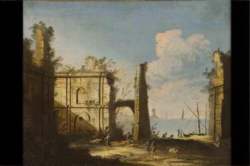 MASTER OF PAESAGGI CORRER - Painting - Landscape with ruins