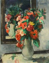 """François GALL - Pintura - """"Vase de fleurs champêtres devant le miroir: Bouquet de Libe"""