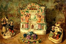 Sergei Yur'evich SUDEIKIN - Painting - Still life with porcelain figurines