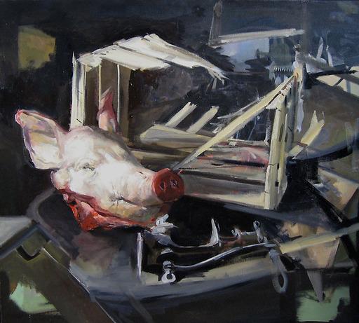 Christoff DEBUSSCHERE - Pintura - La tête de cochon