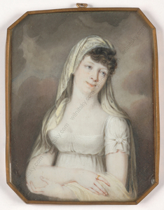 "Heinrich SCHÖDL - 缩略图  - ""Lady in white dress"", important miniature on ivory!!, 1800/"