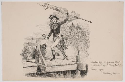 "Josef SCHMITZBERGER - Drawing-Watercolor - ""Napoleon"", Ink Drawing"