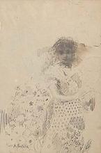Attilio PRATELLA - Drawing-Watercolor - STANDING GIRL (c. 1881)