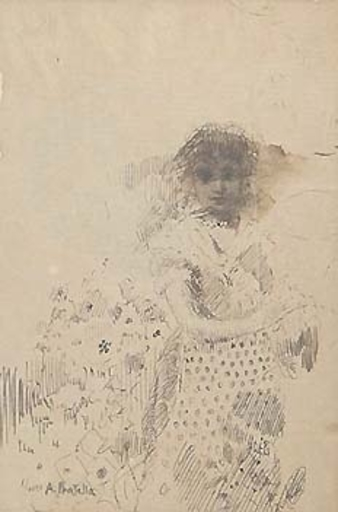 Attilio PRATELLA - Drawing-Watercolor - STANDING GIRL (c. 1881)