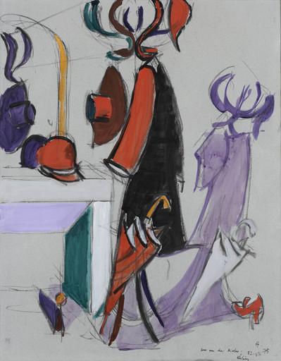 Jean HÉLION - Drawing-Watercolor - Perroquet au miroir