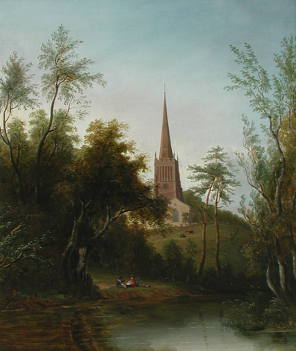 Sarah FERNELEY - Painting - Figures by a Pond, with Cattle and a Church beyond