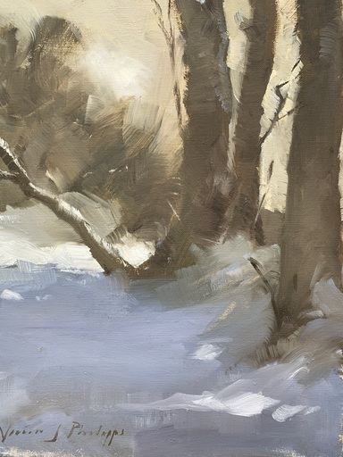 Nicky PHILIPPS - Pittura - Trees in snow outside studio