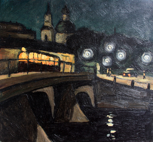 Valeriy NESTEROV - Painting - Belinskogo bridge. Leningrad