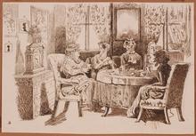 "Victor ODESCALCHI - Dessin-Aquarelle - ""Five o'Clock Tea"" by Prince Victor Odescalchi, 19th Century"