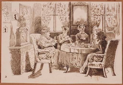 """Victor ODESCALCHI - Disegno Acquarello - """"Five o'Clock Tea"""" by Prince Victor Odescalchi, 19th Century"""