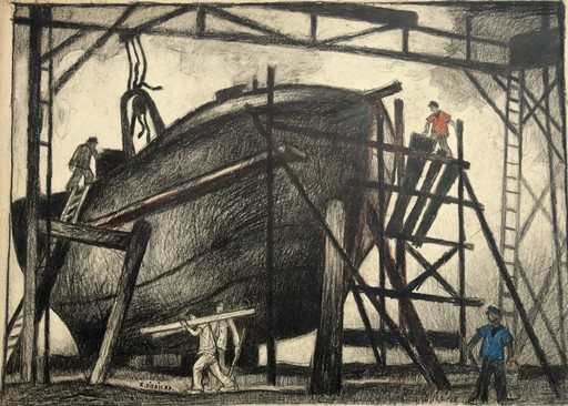 "Raymond DIERICKX - Drawing-Watercolor - ""RADOUB II"""