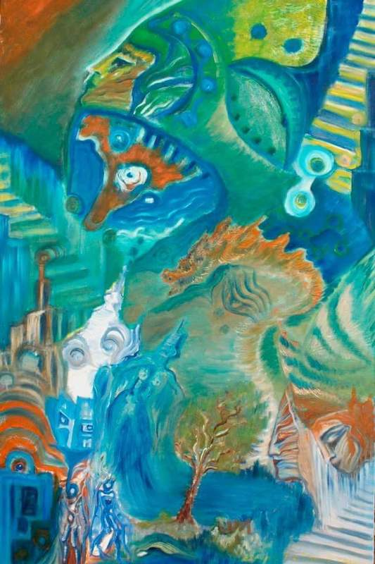 Ellina KATSNELSON - Painting - Green Dark on-Drag on