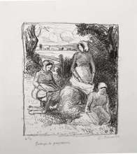 Camille PISSARRO - Estampe-Multiple - Group de paysans