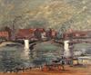 Maurice LOUVRIER - Pintura - Les quais à Rouen