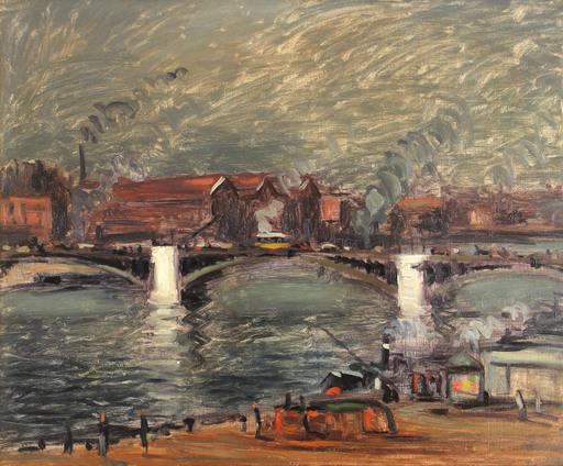 Maurice LOUVRIER - Pittura - Les quais à Rouen