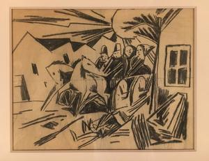 Béla KADAR - Drawing-Watercolor - Houses in the Sun