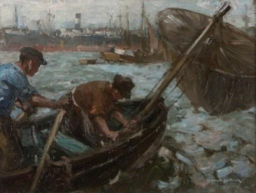 Leonhard SANDROCK - Pintura - Hafenfischer in Hamburg