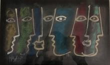 "Celestino PIATTI - Gemälde - ""Fünfmal im Profil, zweimal frontal"""