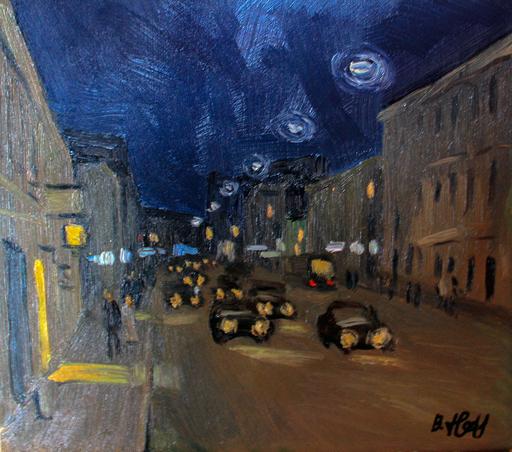 Valeriy NESTEROV - Pittura - Night Sretenka street. Moscow