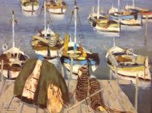 Eugène BABOULENE - Painting - Bateaux au port