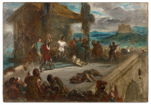 Eugène DELACROIX - Painting - l'assassinat de Jean Sans Peur