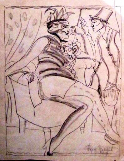 Boris Dimitrevitch GRIGORJEFF - Dibujo Acuarela - Frivolity in masks