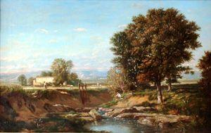 Henri Camille DANGER - Pintura - c.1888-91 Italian countryside landscape