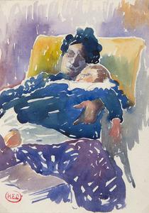 亨利•埃得蒙•克洛斯 - 水彩作品 - Enfant dans les bras de sa mère