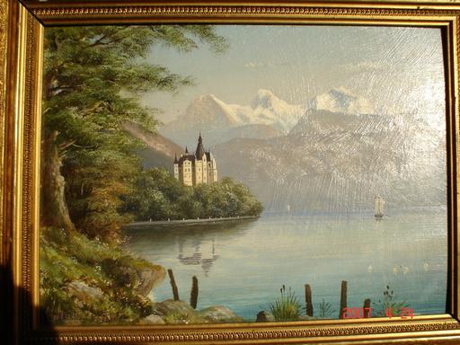 A. STÜCKER - Pintura - lac et montagne
