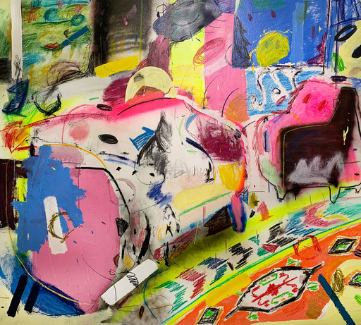 Yevgen LISNIAK - Painting - The One With White Couch (Abstract painting)